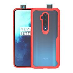 Custodia Silicone Trasparente Specchio Laterale Cover M01 per OnePlus 7T Pro Rosso