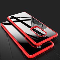 Custodia Silicone Trasparente Specchio Laterale Cover M02 per Huawei Mate 20 Rosso