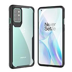 Custodia Silicone Trasparente Specchio Laterale Cover M02 per OnePlus 8T 5G Nero