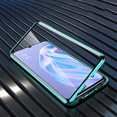 Custodia Silicone Trasparente Specchio Laterale Cover M02 per Oppo A91 Verde