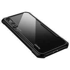 Custodia Silicone Trasparente Specchio Laterale Cover M03 per Huawei P20 Pro Nero