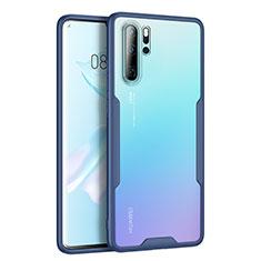 Custodia Silicone Trasparente Specchio Laterale Cover M03 per Huawei P30 Pro Blu
