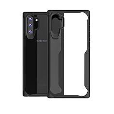 Custodia Silicone Trasparente Specchio Laterale Cover M03 per Samsung Galaxy Note 10 Plus 5G Nero