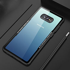 Custodia Silicone Trasparente Specchio Laterale Cover M03 per Samsung Galaxy S10e Nero