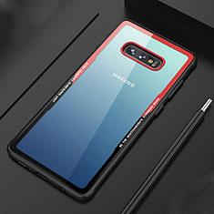 Custodia Silicone Trasparente Specchio Laterale Cover M03 per Samsung Galaxy S10e Rosso