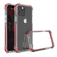 Custodia Silicone Trasparente Specchio Laterale Cover M04 per Apple iPhone 11 Pro Max Rosso