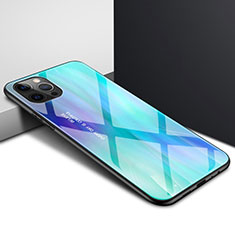 Custodia Silicone Trasparente Specchio Laterale Cover N01 per Apple iPhone 12 Pro Ciano