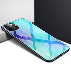Custodia Silicone Trasparente Specchio Laterale Cover N01 per Apple iPhone 12 Pro Max Ciano