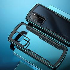 Custodia Silicone Trasparente Specchio Laterale Cover N01 per Huawei P40 Ciano