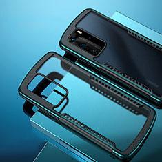 Custodia Silicone Trasparente Specchio Laterale Cover N01 per Huawei P40 Pro Ciano