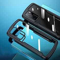 Custodia Silicone Trasparente Specchio Laterale Cover N02 per Huawei P40 Nero