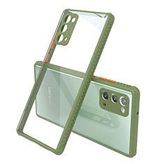 Custodia Silicone Trasparente Specchio Laterale Cover N02 per Samsung Galaxy Note 20 5G Verde Militare