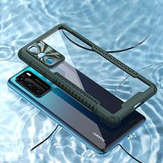 Custodia Silicone Trasparente Specchio Laterale Cover N03 per Huawei P40 Verde Notte
