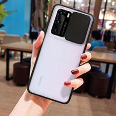 Custodia Silicone Trasparente Specchio Laterale Cover N05 per Huawei P40 Nero