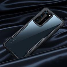 Custodia Silicone Trasparente Specchio Laterale Cover N07 per Huawei P40 Pro Nero