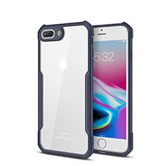 Custodia Silicone Trasparente Specchio Laterale Cover P01 per Apple iPhone 7 Plus Blu