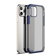 Custodia Silicone Trasparente Specchio Laterale Cover per Apple iPhone 12 Max Blu