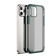 Custodia Silicone Trasparente Specchio Laterale Cover per Apple iPhone 12 Max Verde