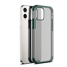 Custodia Silicone Trasparente Specchio Laterale Cover per Apple iPhone 12 Mini Verde