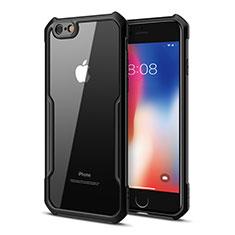 Custodia Silicone Trasparente Specchio Laterale Cover per Apple iPhone 6 Plus Nero