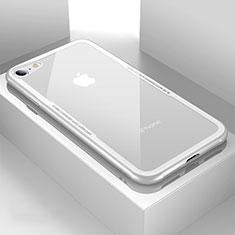 Custodia Silicone Trasparente Specchio Laterale Cover per Apple iPhone 7 Bianco