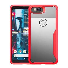 Custodia Silicone Trasparente Specchio Laterale Cover per Google Pixel 3 Rosso