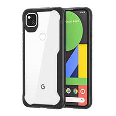 Custodia Silicone Trasparente Specchio Laterale Cover per Google Pixel 4a Nero