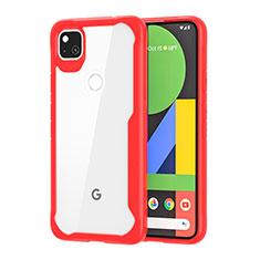 Custodia Silicone Trasparente Specchio Laterale Cover per Google Pixel 4a Rosso