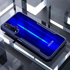 Custodia Silicone Trasparente Specchio Laterale Cover per Huawei Honor 20 Blu