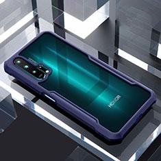 Custodia Silicone Trasparente Specchio Laterale Cover per Huawei Honor 20 Pro Blu