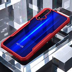 Custodia Silicone Trasparente Specchio Laterale Cover per Huawei Honor 20 Rosso