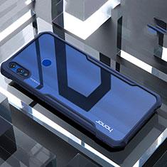 Custodia Silicone Trasparente Specchio Laterale Cover per Huawei Honor 8X Blu