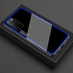 Custodia Silicone Trasparente Specchio Laterale Cover per Huawei Honor Play4 5G Blu