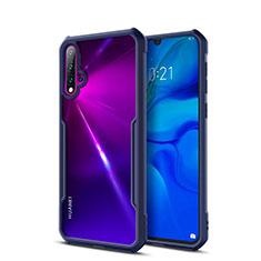 Custodia Silicone Trasparente Specchio Laterale Cover per Huawei Nova 5 Blu