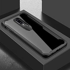 Custodia Silicone Trasparente Specchio Laterale Cover per OnePlus 6T Nero