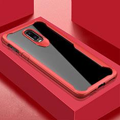 Custodia Silicone Trasparente Specchio Laterale Cover per OnePlus 6T Rosso