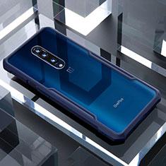 Custodia Silicone Trasparente Specchio Laterale Cover per OnePlus 7 Pro Blu
