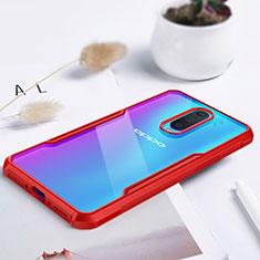 Custodia Silicone Trasparente Specchio Laterale Cover per Oppo R17 Pro Rosso