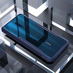 Custodia Silicone Trasparente Specchio Laterale Cover per Oppo Reno Blu