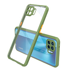 Custodia Silicone Trasparente Specchio Laterale Cover per Oppo Reno4 F Verde