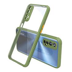 Custodia Silicone Trasparente Specchio Laterale Cover per Realme 7 Verde