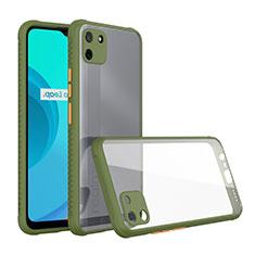 Custodia Silicone Trasparente Specchio Laterale Cover per Realme C11 Verde