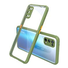 Custodia Silicone Trasparente Specchio Laterale Cover per Realme X7 5G Verde