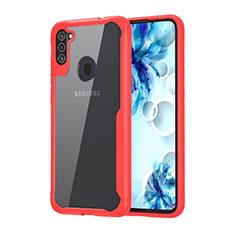 Custodia Silicone Trasparente Specchio Laterale Cover per Samsung Galaxy A11 Rosso