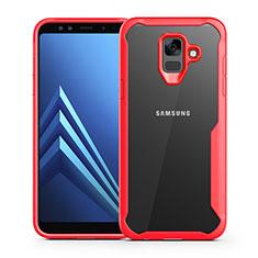 Custodia Silicone Trasparente Specchio Laterale Cover per Samsung Galaxy A6 (2018) Dual SIM Rosso