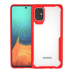 Custodia Silicone Trasparente Specchio Laterale Cover per Samsung Galaxy A71 5G Rosso