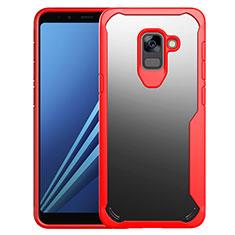 Custodia Silicone Trasparente Specchio Laterale Cover per Samsung Galaxy A8+ A8 Plus (2018) Duos A730F Rosso
