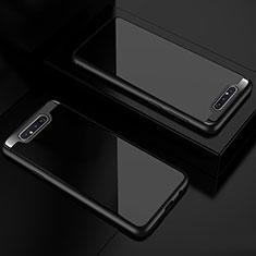 Custodia Silicone Trasparente Specchio Laterale Cover per Samsung Galaxy A80 Nero