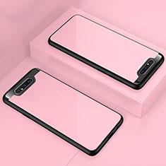 Custodia Silicone Trasparente Specchio Laterale Cover per Samsung Galaxy A80 Oro Rosa