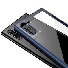 Custodia Silicone Trasparente Specchio Laterale Cover per Samsung Galaxy Note 10 Blu